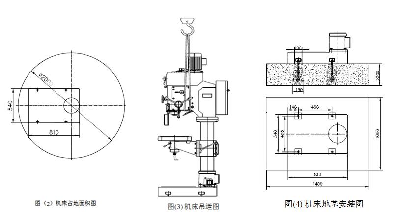 Z5050占地面积图、吊运图和地基安装图